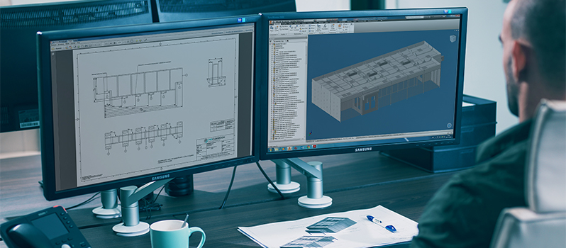 Tekenen van modulaire cleanroom in CAD software